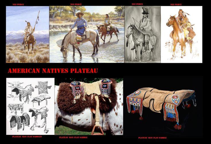Come, per le etnie di altre regioni che adottarono i cavalli, l'equipaggiamento per questi era di derivazione Spagnola. Le selle, da uomo, erano costituite da 2 cuscini imbottiti, i 4 angoli della sella erano generalmente decorati con ricami (aculei d'istrice o conterie). Le staffe erano di legno curvato.
