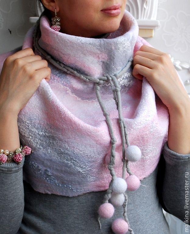 Валяный шарф-бактус Нежность - Валяный шарф жилет шапка брошь Эмма - Ярмарка Мастеров
