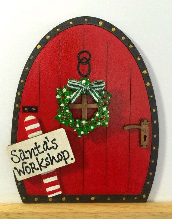 Handpainted Personalised Christmas Fairy Door in Red Elves Pixies Skirting Board Decoration Santa's Workshop or Name with Wreath