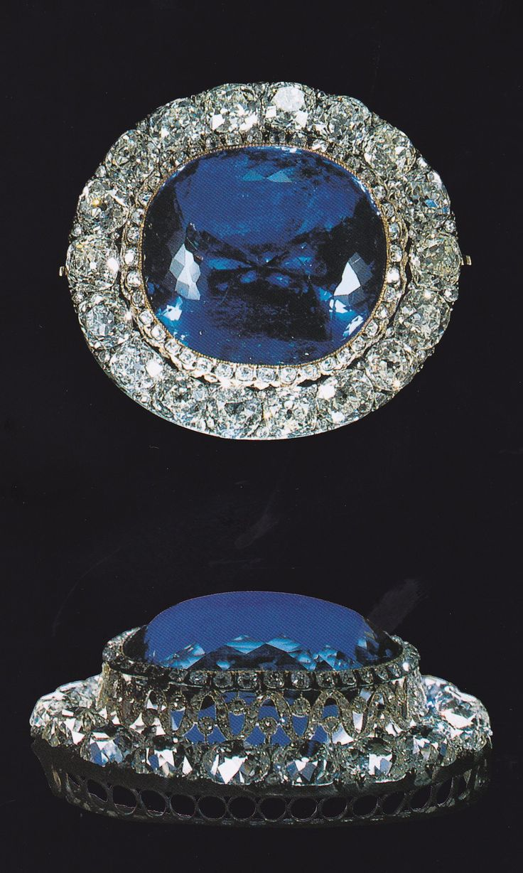 An antique sapphire jewel found in the Dowager Empress Maria Feodorovna's private apartments in the Anichkov Palace. It weighs 260 carats and is set in a typical Russian mounting encircled by 18 diamonds weighing 50 carats.  Source: The Jewels of the Romanovs, by Stefano Papi.