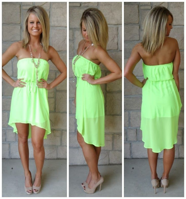 Cute summer dress! Like if I was this tan all the time and lived in Florida! #neon #lime #green