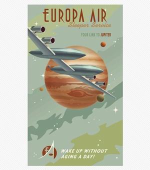 Steve Thomas Art - Jupiter: Art, Europa Air, Stevethomas, Space, Travel Posters, Sci Fi, Vintage Travel, Jupiter Print, Steve Thomas