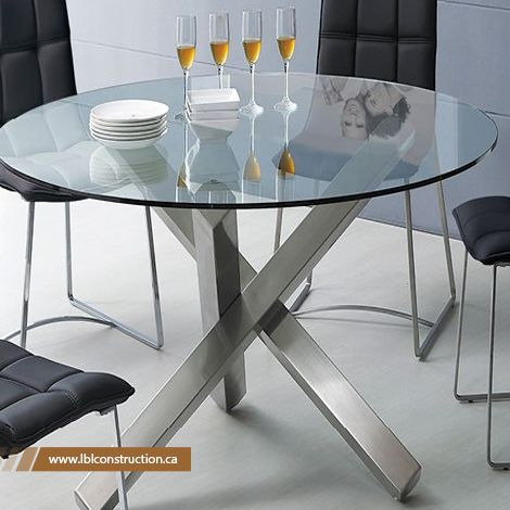 Round Glass Stainless steel Table with Chairs #Custom #Made #Stainless #Steel #Table #Suppliers #Manufacturer  info@lblconstruction.ca | +961 3 11 99 49