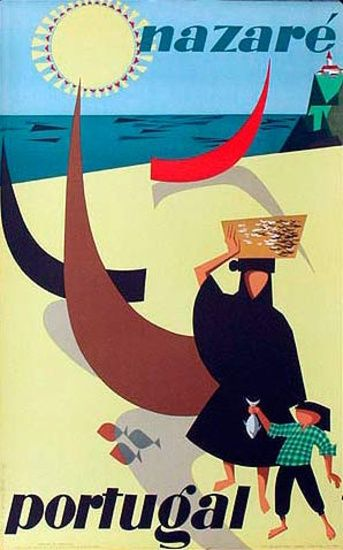 1956 Nazare' Portugal vintage travel poster