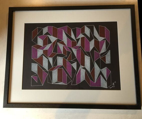 Original drawing in gel pen and coloured pencil measuring 54 x 42cm. Comes in black frame with mount.