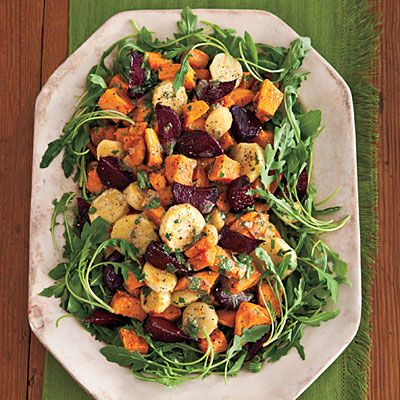Roasted Root Vegetable Salad with sweet potatoes, parsnips, and beets