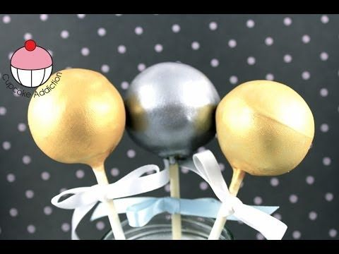 GOLDEN CAKEPOPS! How to Make Metallic Gold & Silver Cake Pops - A Cupcake Addiction Tutorial - YouTube