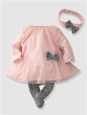 Baby Girl's Party Dress, Tights & Headband Outfit, Baby 0-36 months | Vertbaudet