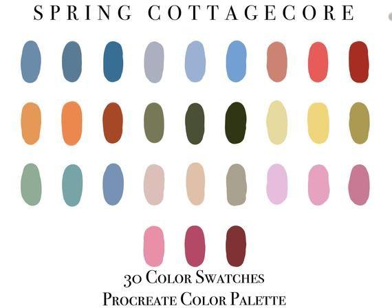 Procreate Color Palette Spring Cottagecore Procreate For Etsy In 2020 Color Palette Spring Color Palette Palette