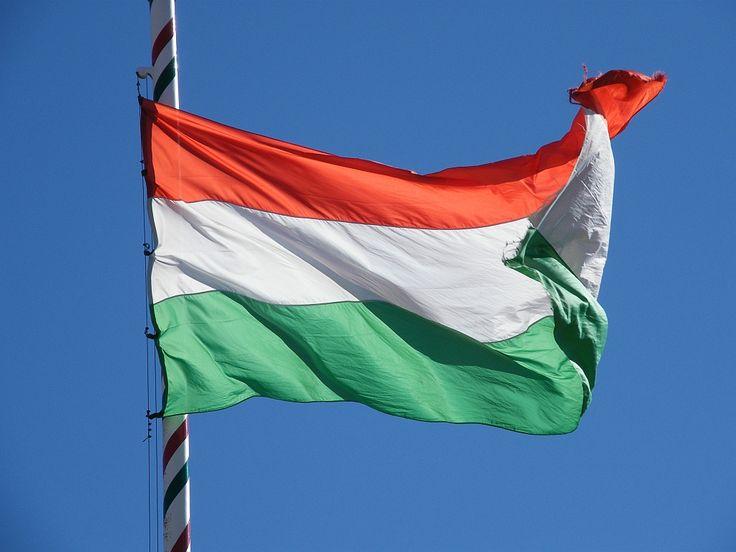 Le drapeau hongrois flottant au vent.