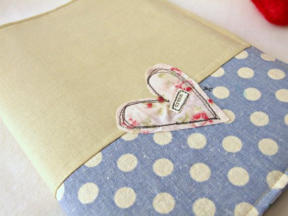 A5 embroidered heart fabric notebook cover by teenywhitedaisy, $25.00