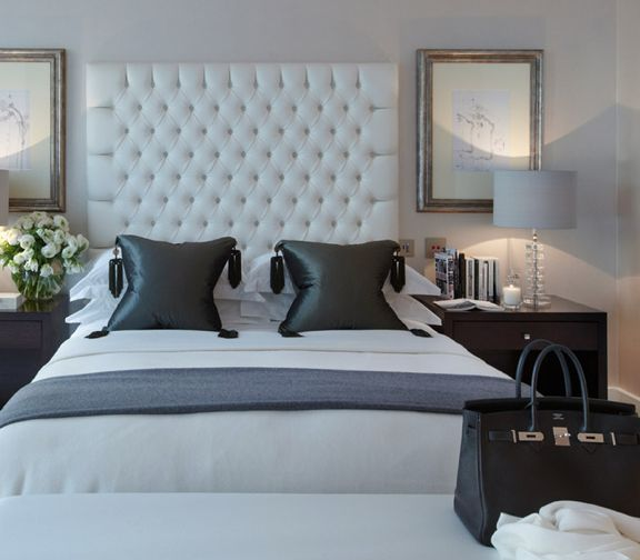 Rich Grey And White Deep Oned Headboard Luxury Hotel Suite Styling For The Bedroom