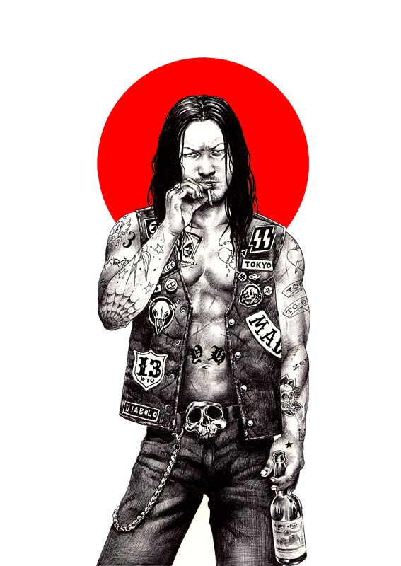 Japanese artist Shohei Otomo (aka Hakuchi) shows us that his motherland has a rockin' pop culture like no other. Using simple ballpoint pen, he mixes old a