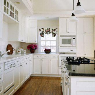 Kitchen Fantastic White Design Ideas With Dark Brown Wood Floor Including Cabinet And Ceramic Tile Backsplash