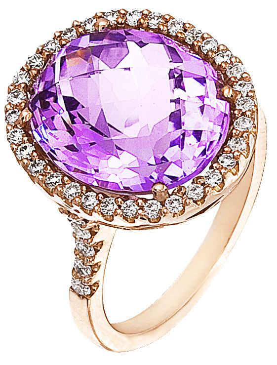 Diamond Ring, .47 Carat Diamonds 8.60 Carat Amethyst on 14K Rose Gold