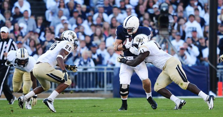 PENN STATE – FOOTBALL 2013 – FRESHMAN Adam Brenneman makes first career catch on fourth-down pass by Christian Hackenberg to keep alive Penn State's first scoring drive.