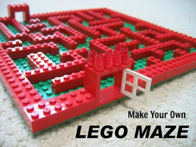 #LEGO Maze.  No directions, but easy enough to do.  Use a building plate and create many different mazes.  Marbles away!  #LEGO #Learning