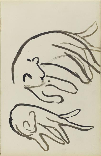 Andre Derain: Deux chats couches.