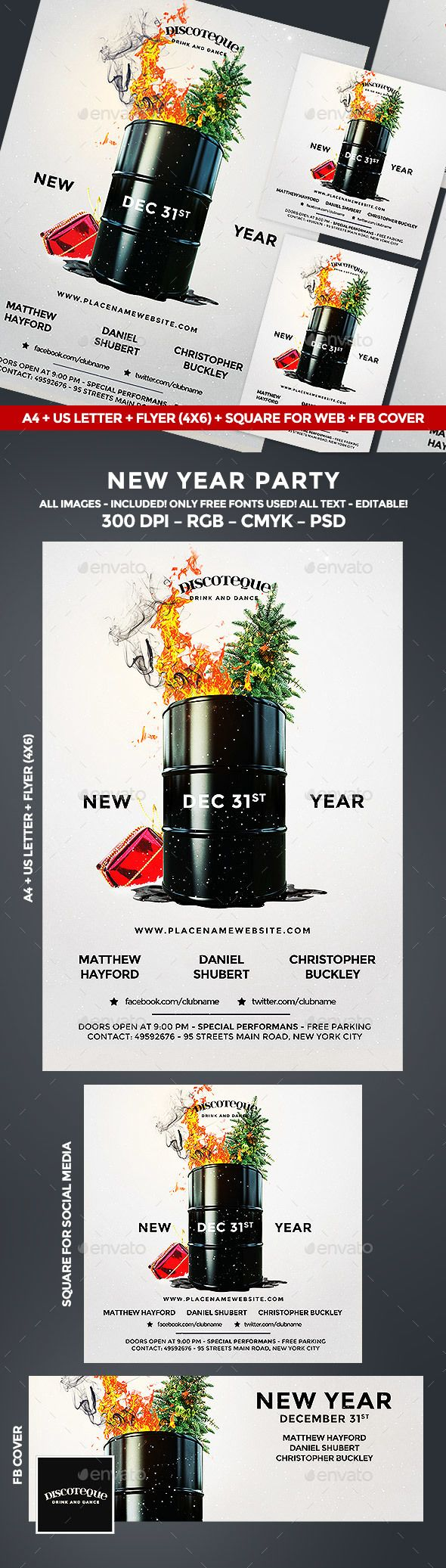 New Year Flyer — PSD Template #inspiration #party #new year • Download ➝ https://graphicriver.net/item/new-year-flyer/18614893?ref=pxcr