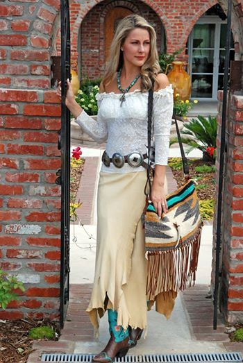 Ivory Lace Top  Deerskin Wrap Skirt Paired With the Bunky Bronco Boots in Chocolate. www.RawhideRanchCo.com