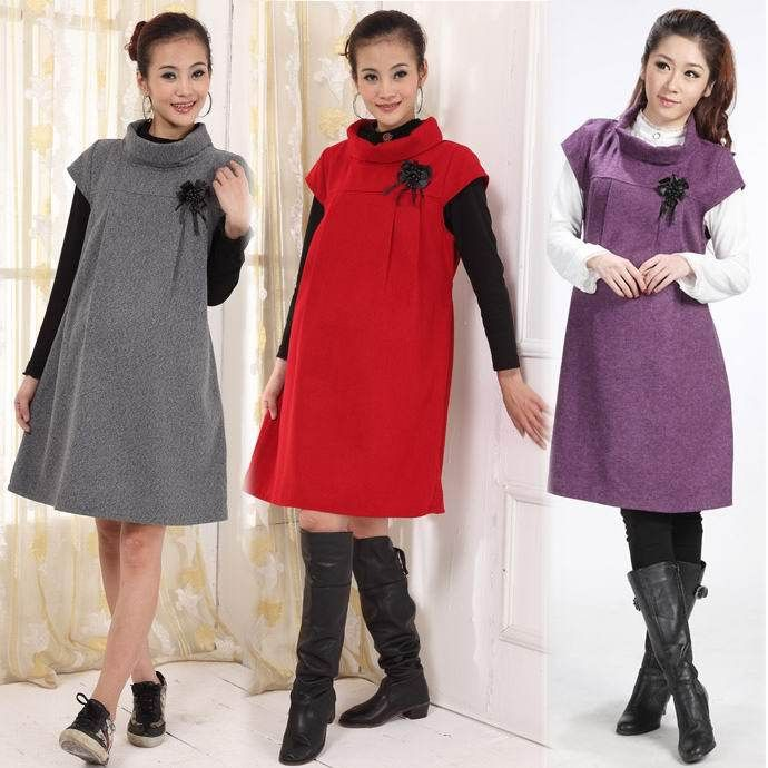 Wholesale Maternity Clothing Autumn and Winter Turtleneck Wool Blends Fashion Gravida One-Piece Dress for Pregnant Women Dresses