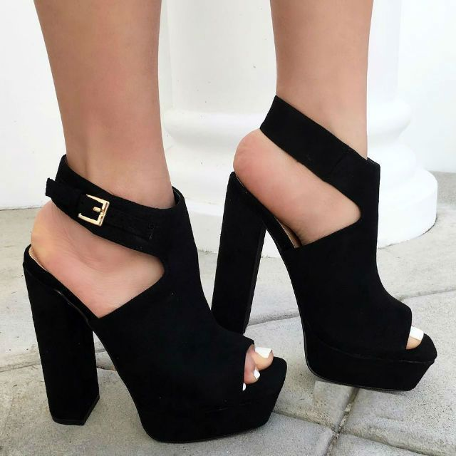 black chunky high heels