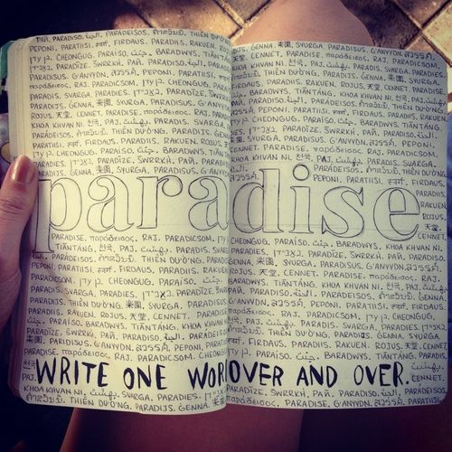 Different languages write one word over and over again wreck this journal