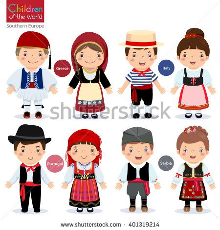 Kids In Different Traditional Costumes Greece Italy