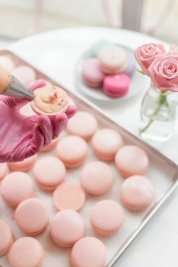 Pale pink, delicious macarons