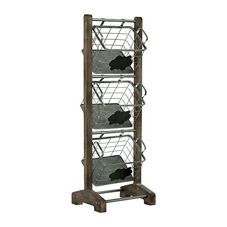 Wood and Metal Basket 3-Tier Stand | Kirklands