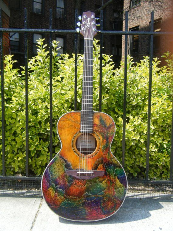 hand painted guitar on etsy