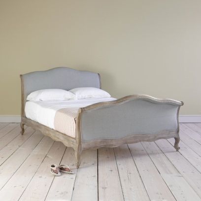 Double Antoinette - Louis XVI Inspired French Style Reproduction Sleigh Bed Antoinette in wolf brushed cotton - Beds | Loaf