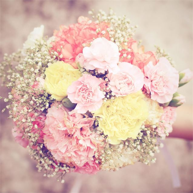 Pretty wedding bouquet inspiration, made from chrysanthemums and gypsophila