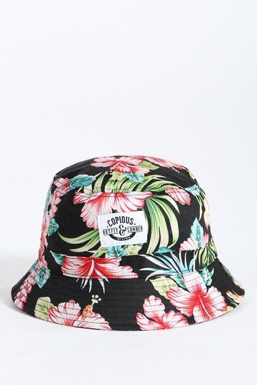 The Bucket Hat - Biscus from Copious is so floral and so tropical, don't be surprised if Robinson Crusoe swings by and nicks it off your head.