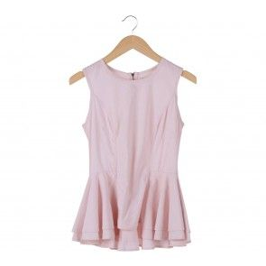 Pink Peplum Sleeveless Blouse
