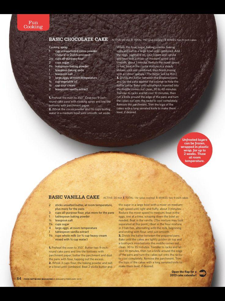 Basic Vanilla and Basic Chocolate Cake recipes.