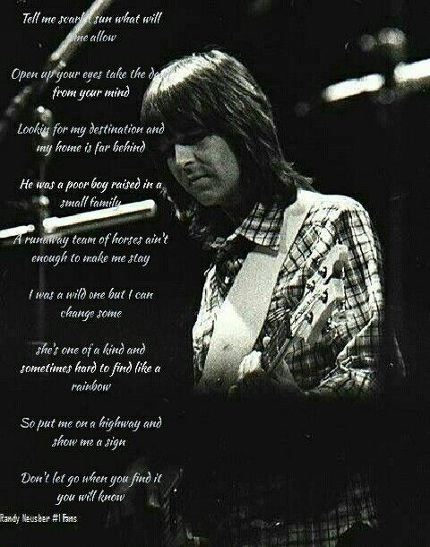 Lyrics from each Eagles song Randy Meisner sang Take it to the limit