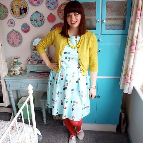 I'm taking part in #mmmay16 for the first time and pledging to wear one me made item every day throughout May, starting with this #mortmaindress in #cottonandsteel button print from the homebody range  worn with @boden_clothing yellow cardigan and @seasaltcornwall yellow beads and brogues.  #memademay #handmadedress