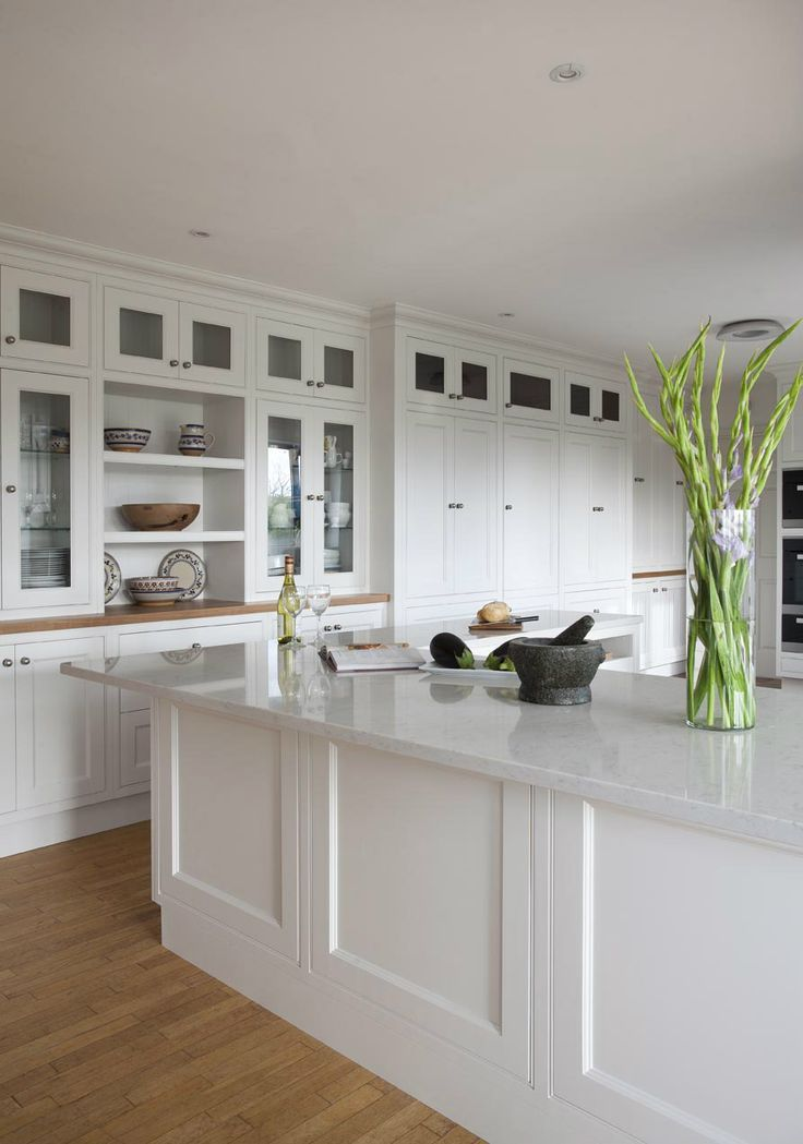 White Classic Kitchen Design: White Quartz Countertops, Cabinets And Some  Green Plants For A
