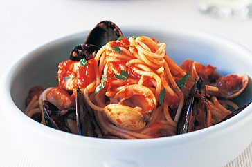 Spaghetti Marinara. Words cannot describe the beauty of this dish. Full of flavour and fish that melts in the mouth. It is defiantly for anyone who just loves pretending to be Italian.