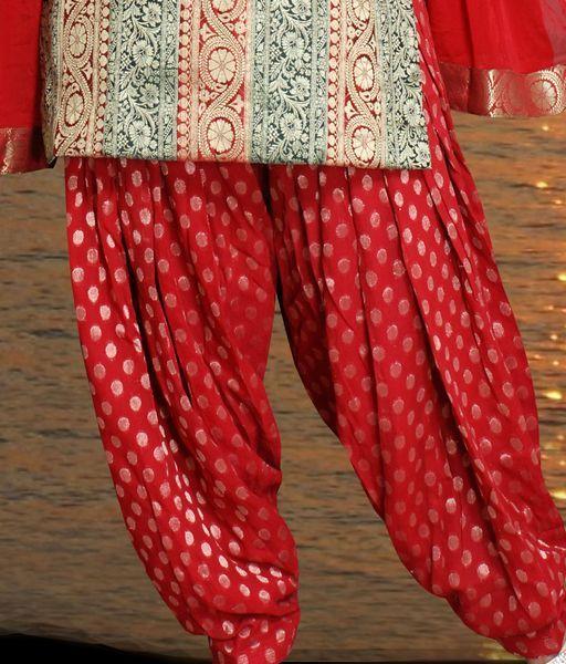 Patiala Salwar Kameez In Brocade Banarasi Georgette