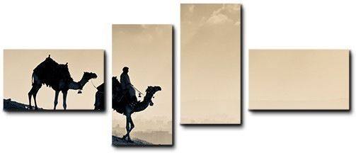 Quadro moderno 4 pz stampa su tela cm 176x74 quadri XXL arte deserto cammelli