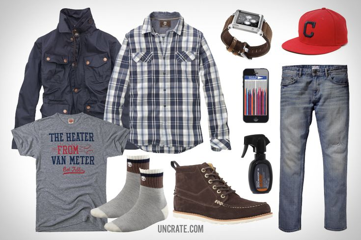 Timberland Abington Camp Chukka ($200). Timberland Earthkeepers Abington Waterproof Raincoat ($198). Timberland Earthkeepers Thompson Double-Layer Plaid Shirt ($60). Homage Heater From Van Meter T-Shirt ($28). Gant Stick Boy Well Done Jeans ($178). Cleveland Indians Low Crown New Era Cap ($27). Lunatik iPod nano Watch Band ($65). Timberland Boot Low Show Sock ($15). Timberland Balm Proofer Protector ($13). Race To The Pennant App ($1).