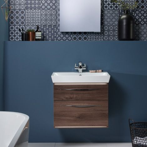 Scheme 600 wall mounted basin unit with double drawer | Roper Rhodes