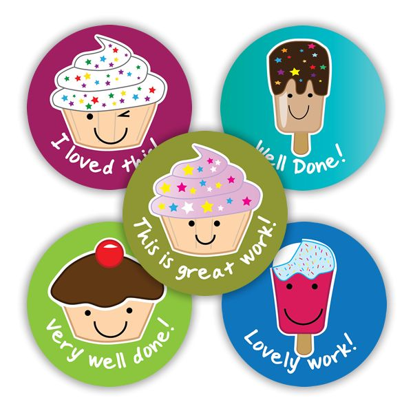 28mm stickers showing cupcakes and lollies to reward pupils for their great work. Yum! 125 stickers per pack.