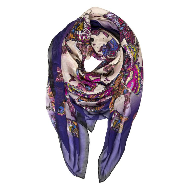 Story Teller: Designed by talented young designer from Scotland, Helen Ruth. It is inspired by the art of storytelling - this scarf is bursting with vibrant butterflies. The oversized silk chiffon scarf is an ideal choice to make a fashion statement without sacrificing its functionality. This scarf can be worn wrapped around the neck or as a beach cover up.  Material: 100% Silk Chiffon  Hand-rolled finish.  Made in Scotland (UK) #Silk #Scarf