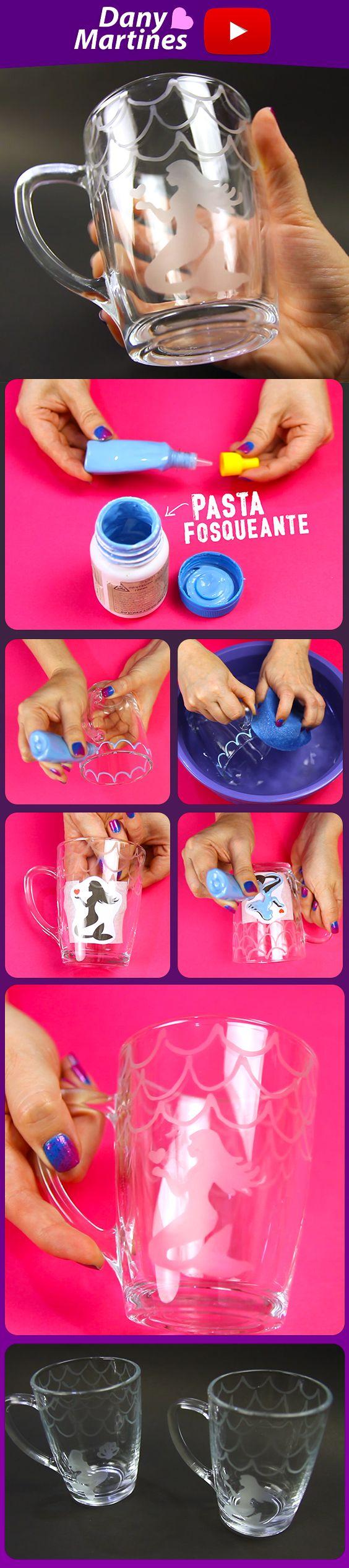 Faça você mesmo um lindo copo de sereia com pasta fosqueante, copo decorado, diy, do it yourself, mermaid