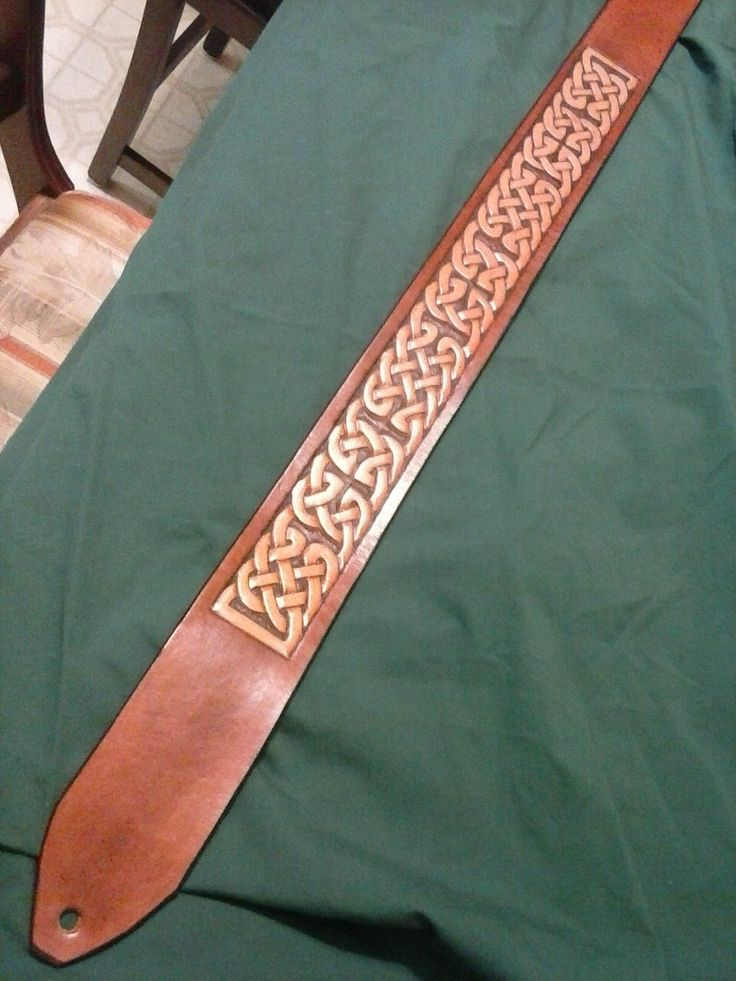 Celtic Leather Guitar Strap - Pict Border Knots  **reduced** by ArdRighArt on Etsy https://www.etsy.com/listing/234196682/celtic-leather-guitar-strap-pict-border