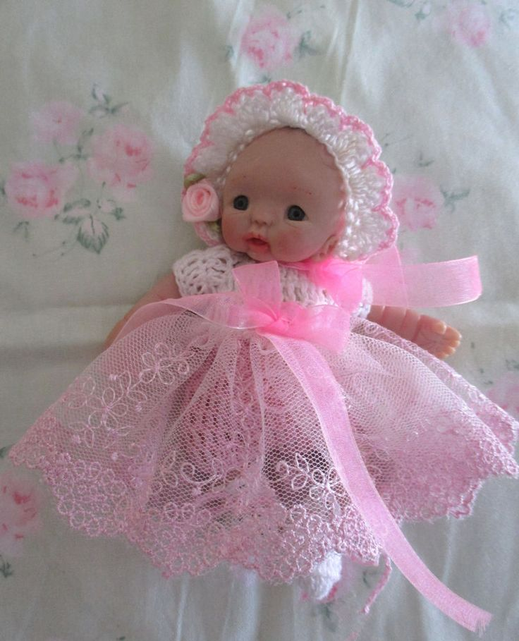 PRETTY CROCHET & LACE 4 PCE. DOLL OUTFIT 5  CLAY SCULPT REBORN OOAK BERENGUER