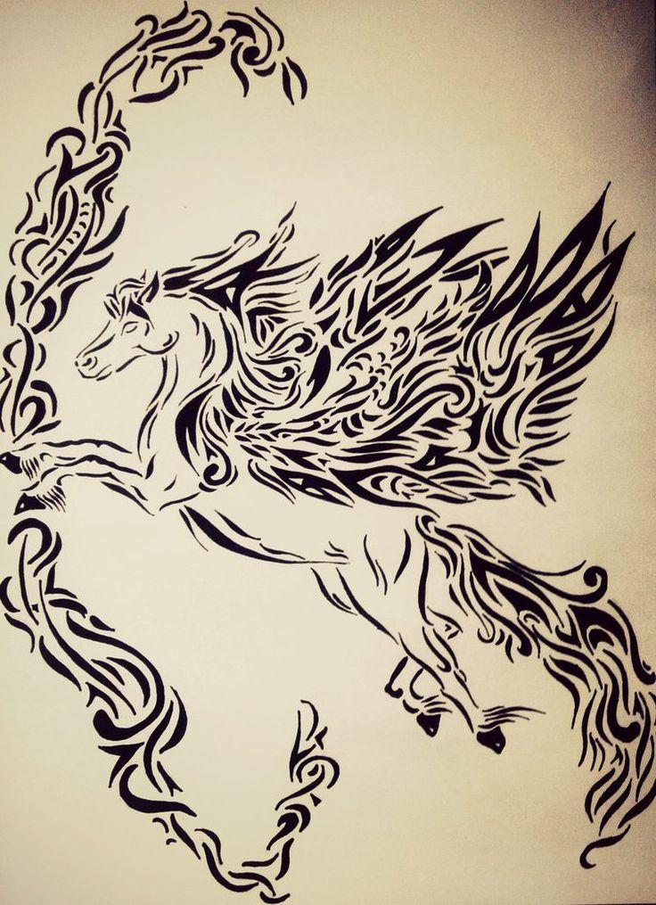 Tribal Pegasus by tattoo-love-forever.deviantart.com on @DeviantArt